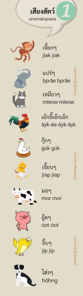 Animal sounds in Thai